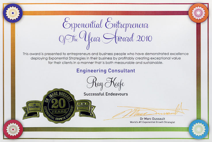 Exponential Entrepreneur of the Year Certificate