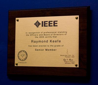 Ray Keefe IEEE Senior Engineer Plaque