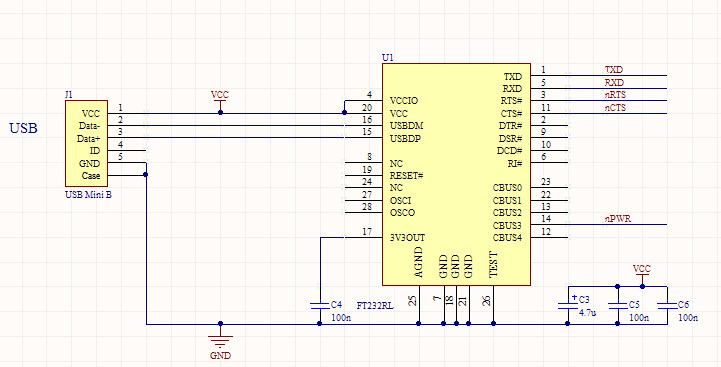 FT232RL USB Schematic