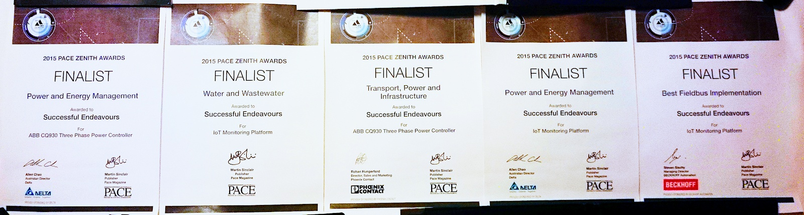 PACE Zenith Awards - 5 Finalist Certificates - Successful Endeavours 2015