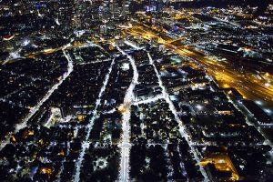Modern Street Lighting - Aerial View