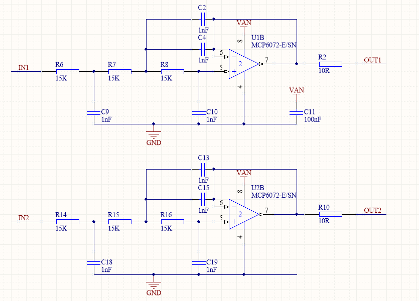Active Low Pass Filter Schematic